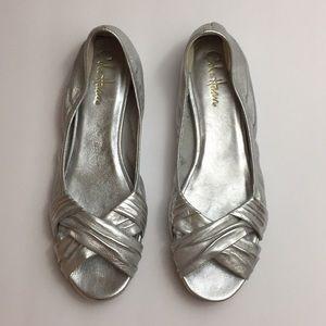 Cole Haan Nike Air Silver Metallic Flats